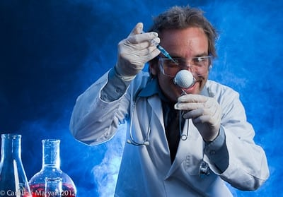 Scientist with a Golf Ball. Stock photo and photography.