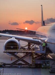 Sunset at Narita Airport Tokyo Japan