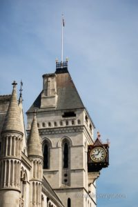 Clock at the Royal Courts of Justice in London, England