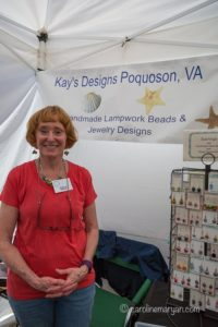 Kay Bolden with some of her custom jewelry at Art on the Square in Williamsburg, VA.