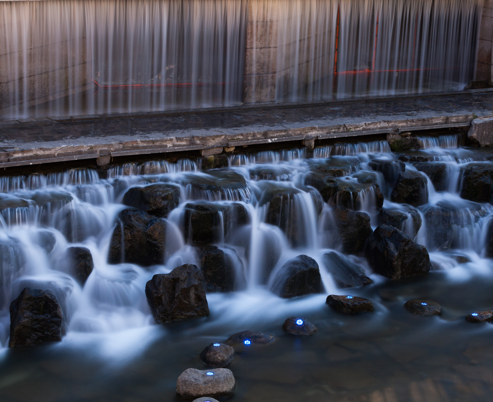 A long exposure shot of a waterfall along the Cheonggye Stream, in Seoul, South Korea.