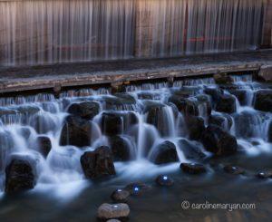 A long exposure shot of a waterfall along the Cheonggye Stream, in Seoul, South Korea.