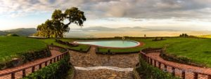 A panorama of the Ngorongoro Crater in the distance, in Tanzania, taken from the Sopa Lodge.