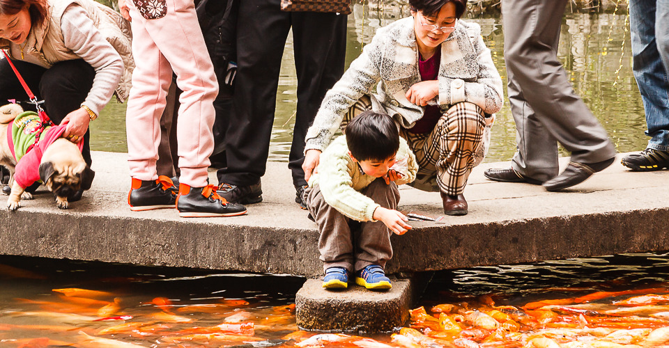A woman holds her grand-son as he feeds fish in the Yu Yuan Garden in Shanghai, China.