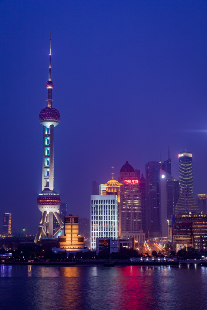 After I learned to use my camera, I was able to capture this photo of an evening view of Pudong in Shanghai, China, including the Oriental Pearl TV Tower, during the light show.