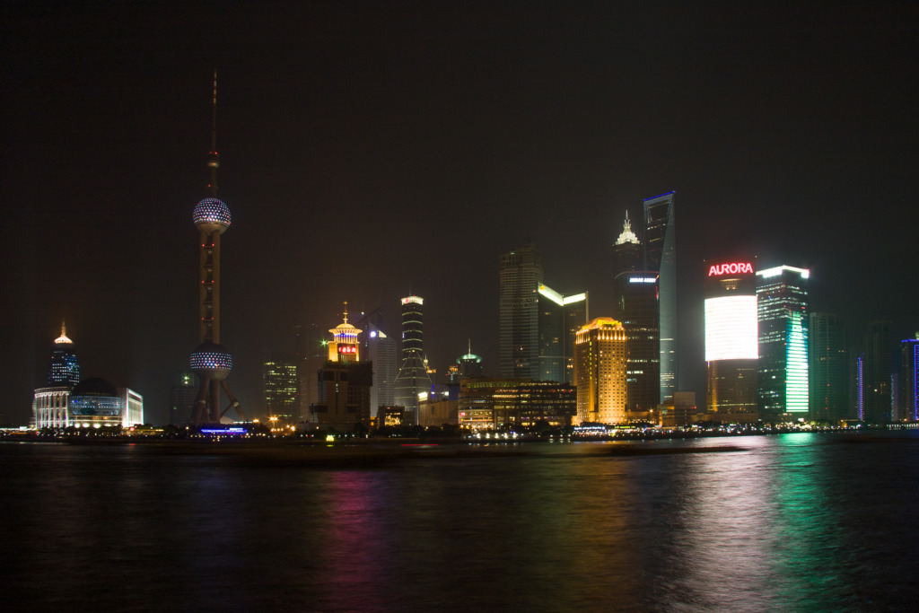 Before I learned to use my camera, it took me so long to figure out the settings that my photo of an evening view of Pudong in Shanghai, China, including the Oriental Pearl TV Tower, on the left, didn't happen until after the light show had ended.