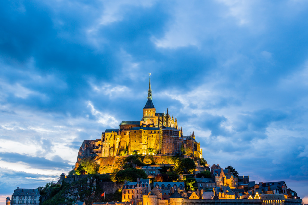 Mont Saint Michel at Dusk taken to demonstrate how to shoot better night photography