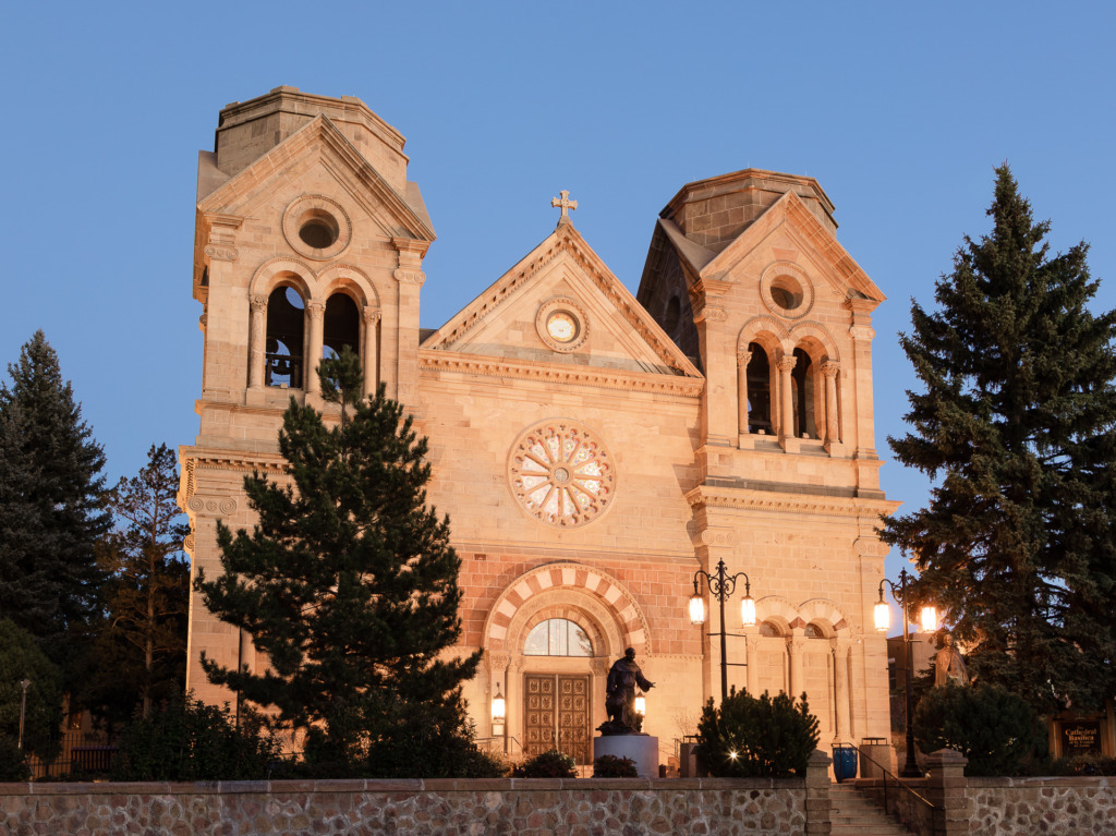 The Cathedral Basilica of St. Francis of Assisi in Santa Fe, New Mexico during the blue hour