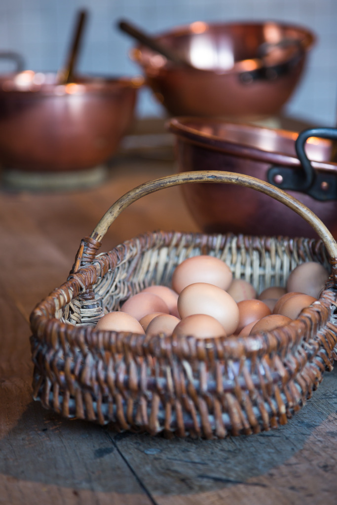 image of basket of eggs taken from ground level camera angle
