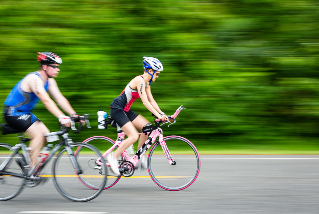 bicycle riders with motion blur using panning