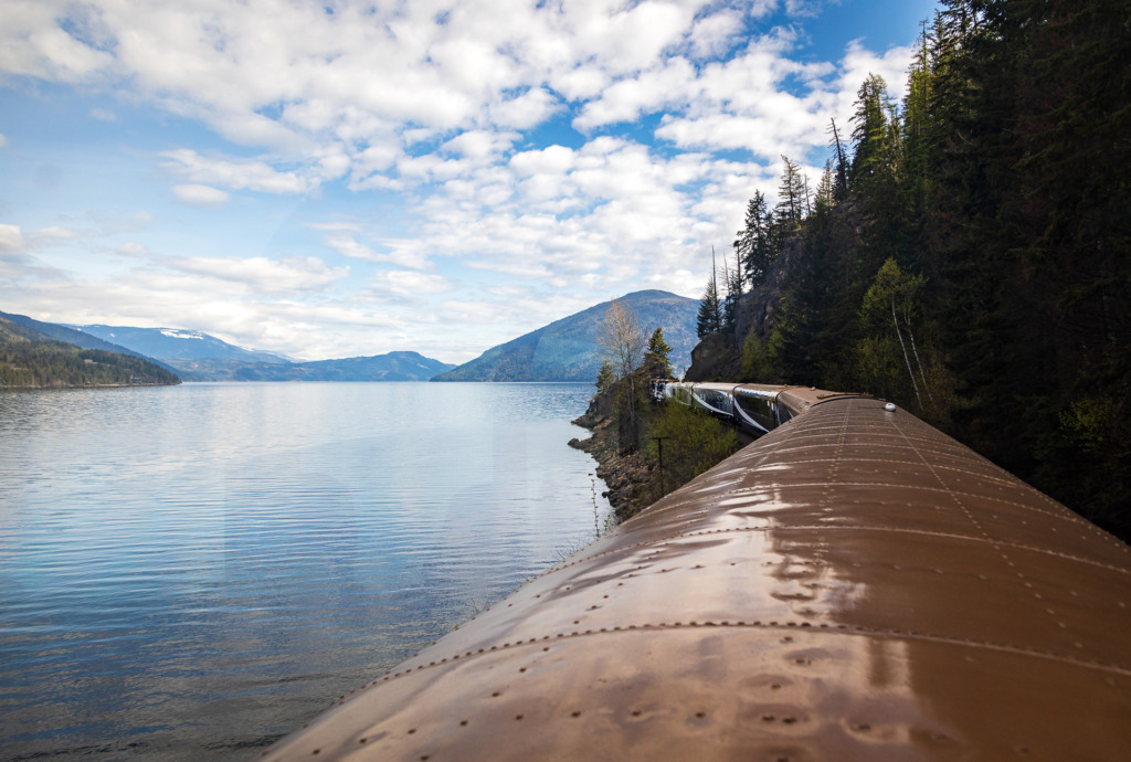 View of a Lake while riding the Rocky Mountaineer