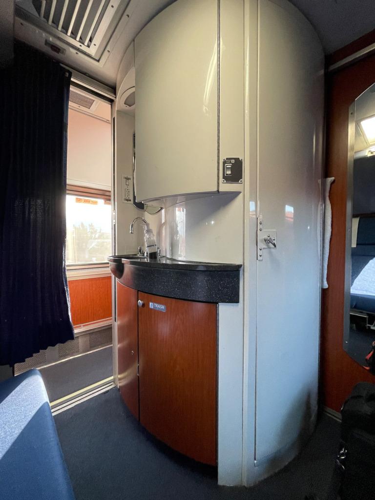bathroom on Amtrak