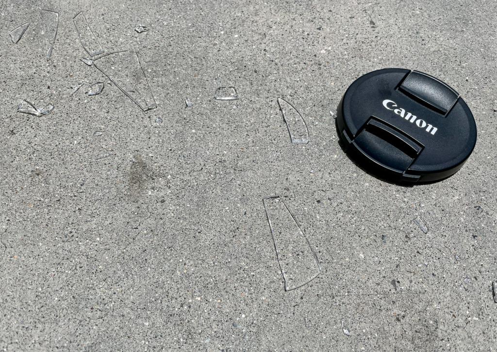Canon Lens Cap and Broken Glass