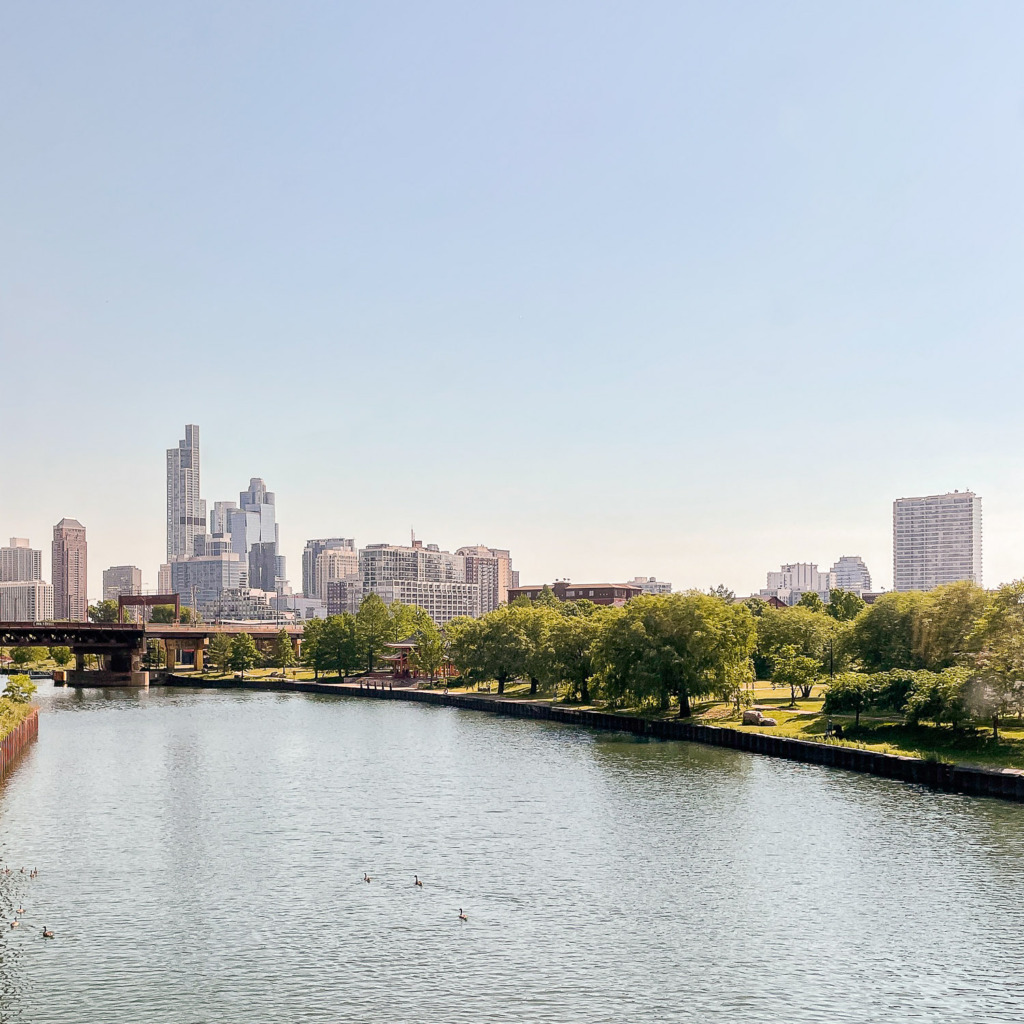 view of Chicago and the Chicago River from Amtrak
