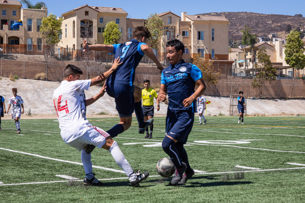 shooting action of a soccer match