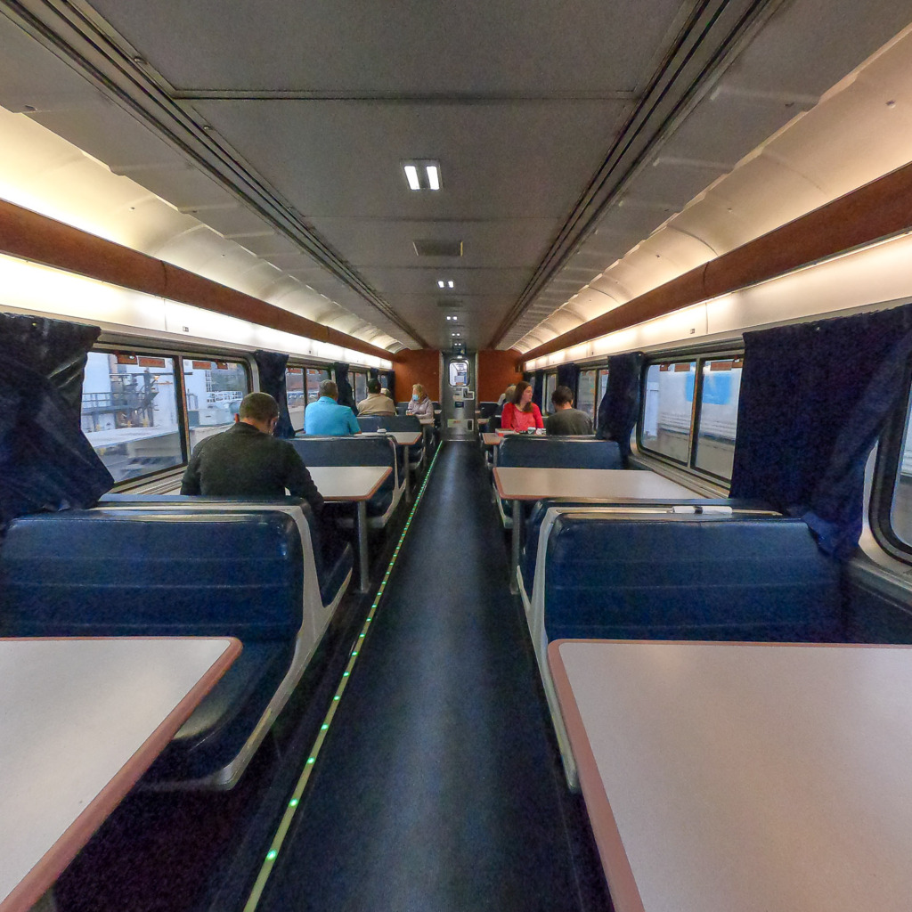 when you ride Amtrak, you can eat in the dining car