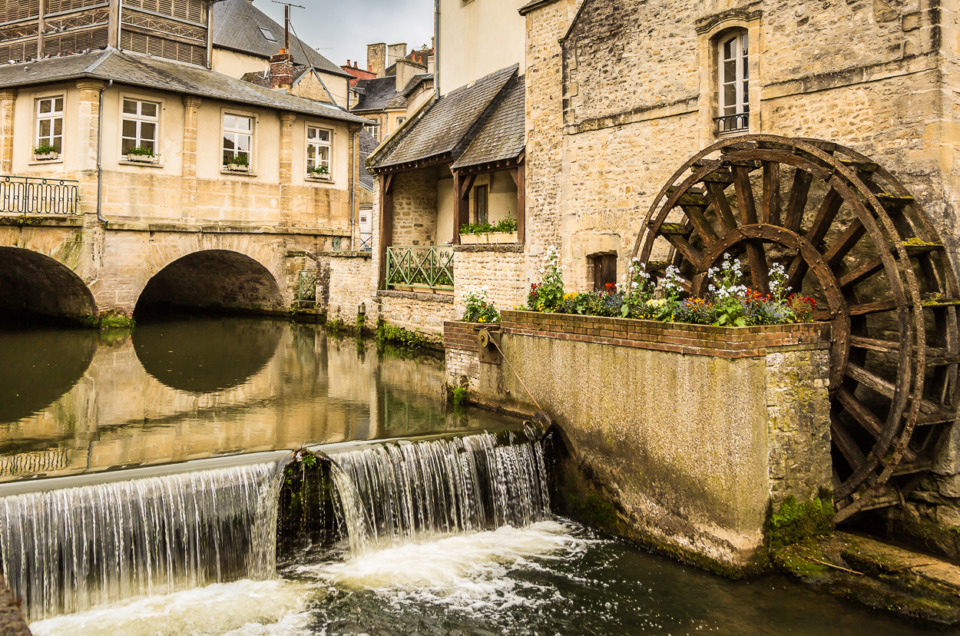 Panorama of Old French Watermill in Bayeux, France